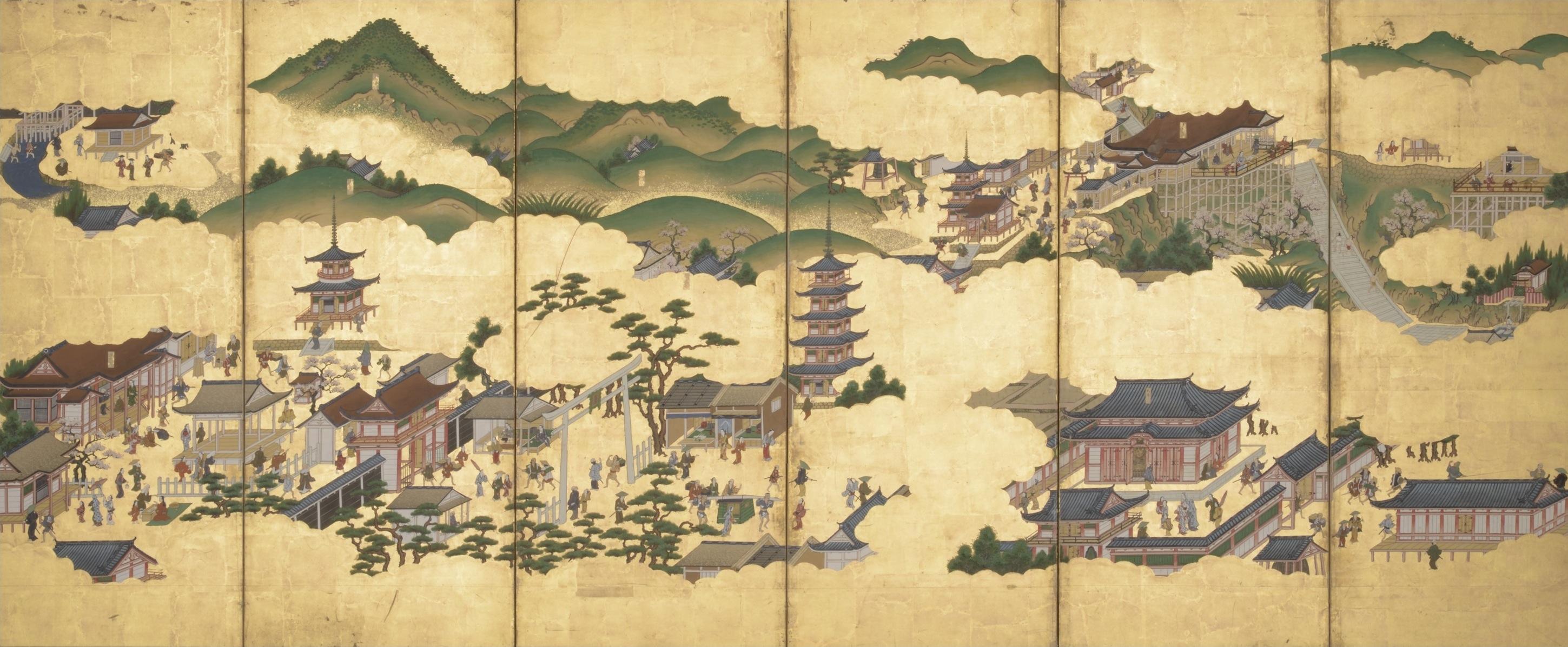 京洛名所図屏風(右隻)江戸時代